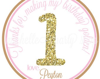 NEW - Golden First Birthday - Favor Tags