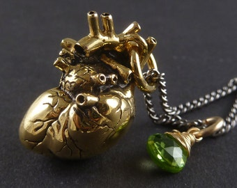 Gold Heart Necklace - 24 Karat Gold Plated Anatomical Heart Pendant with 14 Karat Gold Filled Wire Wrapped Peridot - Peridot Jewelry
