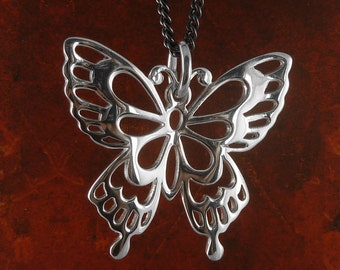 """Butterfly Necklace Antique Silver Butterfly Pendant on 24"""" Gunmetal Chain"""