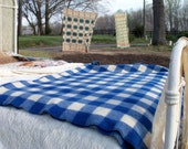 Wool Blanket Kenwood Blue & White Classic Check Picnic Car Throw Camp Decor Mid Century Find