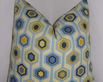 """Geometry Blue and Yellow Indoor/Outdoor - Designer Pillow Cover- Decorative Pillowcase 18""""x18"""""""