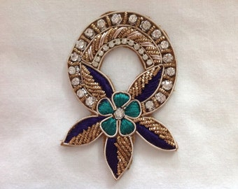 Flower hand embroidered applique in gold with faux Swarovski crystals