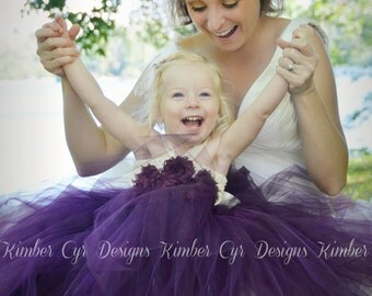 Ivory and Eggplant Flower girl dress--Customize