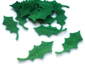 Felt holly leaves christmas holly die cut felt arts and crafts felt shapes christmas crafts green leaves christmas felties