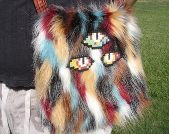 Southwestern colors very hairy monster OOAK purse fabric three eyes mint red sand fur orange batik print purse