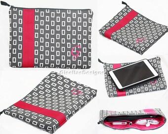 "Personalized iPad Mini 2 Case, iPad Pro Sleeve, iPad Air Case, 8""-10"" tablet, Custom Made color block bag."