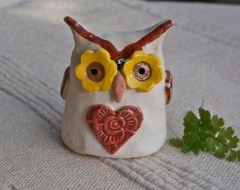 Ceramic Owl figurine, terrarium decor - Small white and red with heart