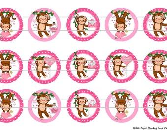 "15 Monkey Love Valentine Digital Download for 1"" Bottle Caps (4x6)"
