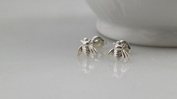 Sterling Silver Tiny Bee  Earrings