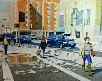 Art Print City Urban Street Scene Winter Cars Orange Blue Free Shipping 8 x 10, 11 x 14