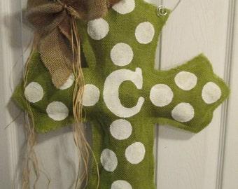 Burlap Cross Burlap Door Hanger Apple Tart Green with white Polka dots Personalized