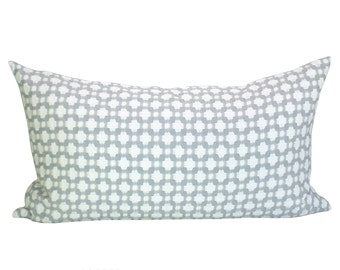 Schumacher Betwixt lumbar pillow cover in Zinc/Blanc