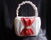 White Coral Satin Rhinestone Bow Flower Girl Basket Wedding Decoration Bridal
