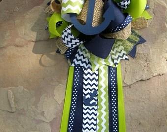 Chevron corsage-nautical chevron-baby shower corsage