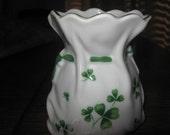 Vintage Lefton Irish Money Bag Shamrock Decorated original tag