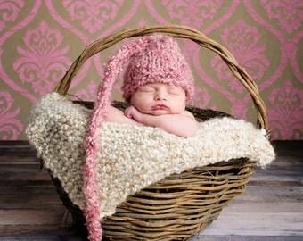 Newborn Hand Knit Hat, Rose Elf Hat, Newborn Photography Prop, Pink, Baby Girl, Hand Knit Hat, Newborn Baby
