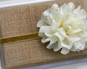 Ivory Eyelet Headband - Baby Headband - Toddler Headband - Girls Gold Glitter Headband