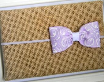 Lavender Bow Headband - Infant Headband, Baby Headband, Lavender Swirl Bow Headband