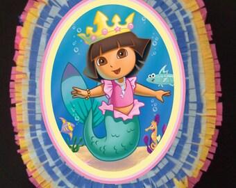 Dora Mermaid birthday party Pinata
