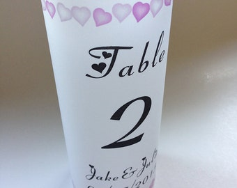 10 Personalized heart wedding table number luminaries/lumies - wedding centerpiece, lights. Wedding luminary