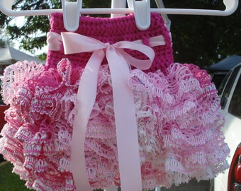 Baby/ toddler ruffle tutu skirt in white, pink, and hot pink with pink ribbon made to order sizes 0-6 month to 2T-4T