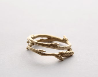 Solid Gold Twig ring
