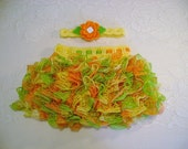 READY TO SHIP - 3 to 6 Month Size - Yellow, Orange and Lime Green Ballerina Ruffled Skirt and Headband - Photo Prop