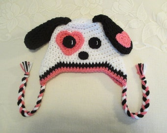 Valentine's Day - Puppy Dog Crocheted Hat - Available in Any Size or Color
