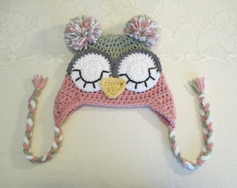 Light Sage and Raspberry Crocheted Sleepy Eye Owl Hat - Photo Prop - Available in Any Size or Color Combination