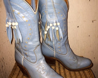 Vintage Baby Blue Fringe Cowgirl Western Boots from Miss Capezio size