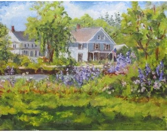 Califon, NJ -  A Summer Day on the River - Oil Painting of Purple Phlox