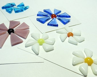 Glass Flowers For Mosaics, Jewelry, Magnets or other Embellishments 6 Flowers  (P234)
