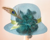 Miss Fisher hat, Downton Abbey blue cloche,  large summer hat with feathers Israel