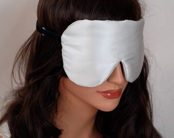 SILK Eye Mask Sleep Mask, Non Dyed Natural Charmeuse, Fully Adjustable, Padded, Light Darkening for Sleep, Travel, Eye Care and Anti-Aging