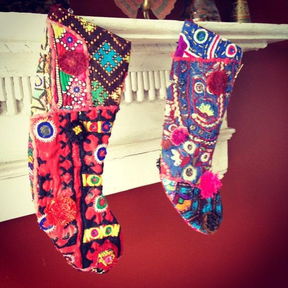 Bohemian christmas stockings vintage hippie by cloud jewels