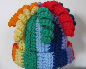 Rainbow beanie with curls for baby 6-9 months