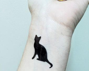 Cat Tattoo - Temporary Tattoo - Black Cat  - Kitty Cat Tat - Cattoo