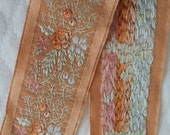 """1.75"""" WIde Vintage French Muted Peach Jacquard with amazing detailed embroidered florals and satin edging"""