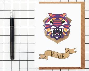 Tiger Greetings Card - Geometric - blank