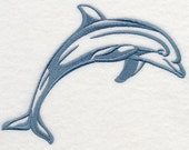Dolphin Silhouette Embroidered Flour Sack Hand/Dish Towel