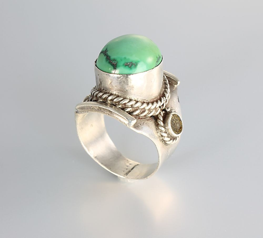 vintage mexico sterling silver green turquoise ring by