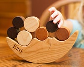 Smiling Moon BALANCER - personalized stacking and balancing wooden game, an educational learning toy set for little ones and young-at-heart