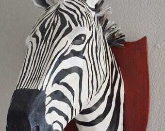 Paper mache zebra head, faux taxidermy