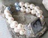 Bride's Bracelet, Wedding Jewelry, Pearl Wedding Bracelet Something Borrowed, Something Blue Photo Bracelet