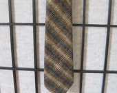 Vintage Scottish Plaid Wool Neck Tie Necktie Brown Beige Black Gray Gold Ochre Mustard Cravat Made in Scotland