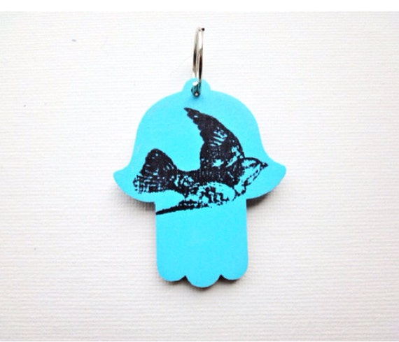 Hamsa Flying Bird Key Chain, Rear View Mirror Car Charm with Personalization