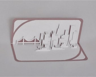 SAN FRANCISCO SKYLINE Pop Up 3D Card Home Decoration Origamic Architecture Hand Cut in White and Metallic Mauve Pink Folds Flat OOaK