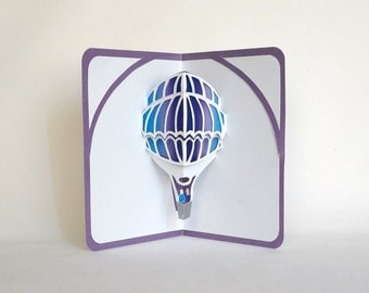 HOT AIR BALLOON 3D Pop Up Greeting Card Home Décor Cut by Hand in White on Shimmery Metallic Purple with Purple and Turquoise Shades OOaK