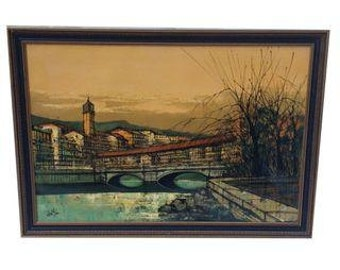 Free Ship Original Len Yini Painting Oil on Canvas Gilded and Ebonized Wood Frame. Lentini modernist Mid Century Painting
