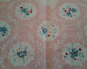 Vintage Floral Rectangle Tablecloth Pink Salmon